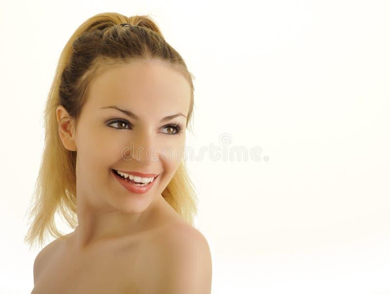 Donna felice con i bei denti bianchi fotografie stock libere da diritti