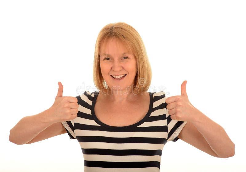 Donna felice con i pollici in su immagini stock libere da diritti