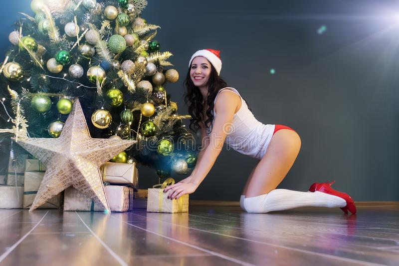 Donna felice con il regalo sotto l'albero di Natale La giovane bella ragazza sexy in biancheria e cappuccio di Santa Claus mette  fotografia stock libera da diritti
