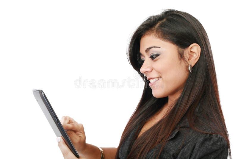 donna felice con il ridurre in pani fotografia stock