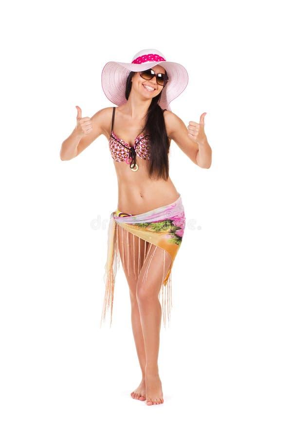 Donna felice in costume da bagno fotografia stock