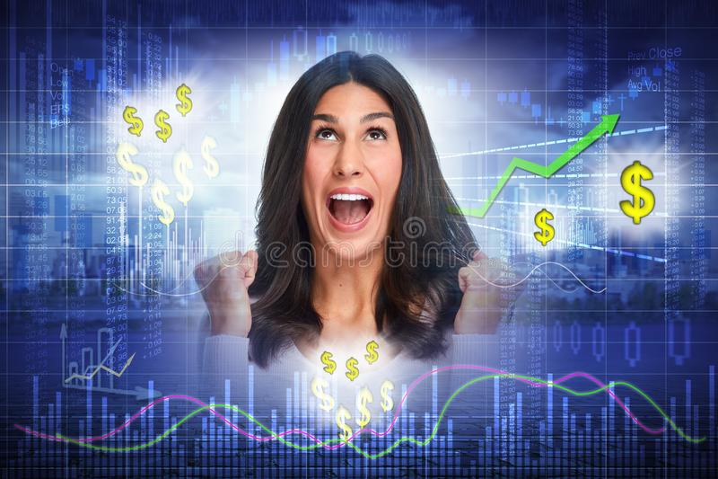 Donna felice dell'investitore fotografia stock