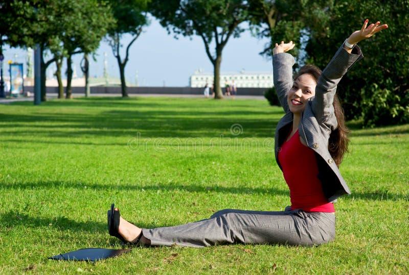 Donna felice di affari fotografie stock
