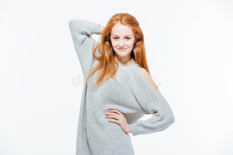 Donna felice di redhead fotografie stock