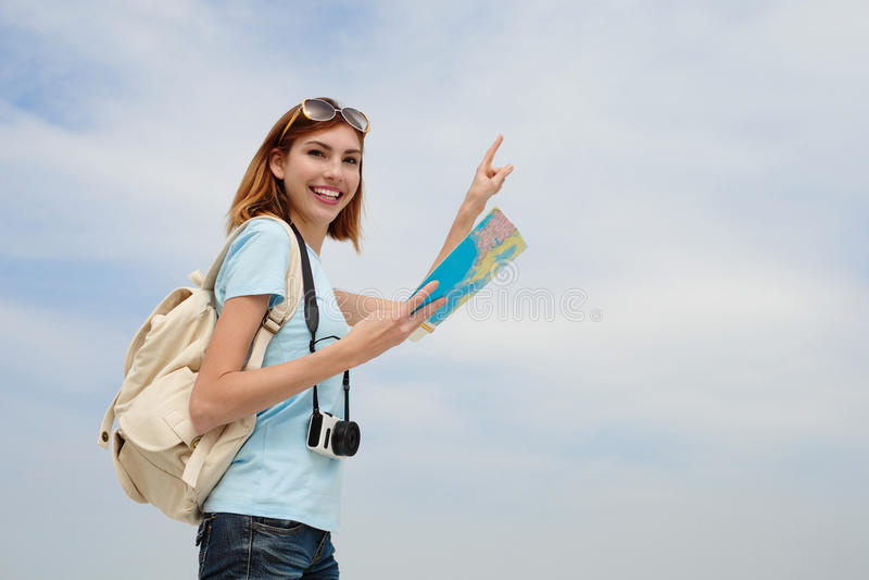 Donna felice di viaggio immagini stock