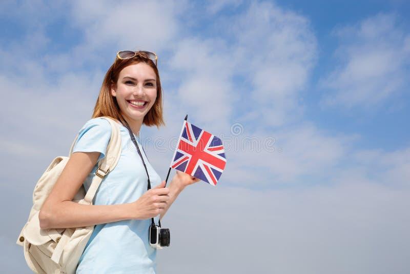 Donna felice di viaggio dei giovani fotografie stock