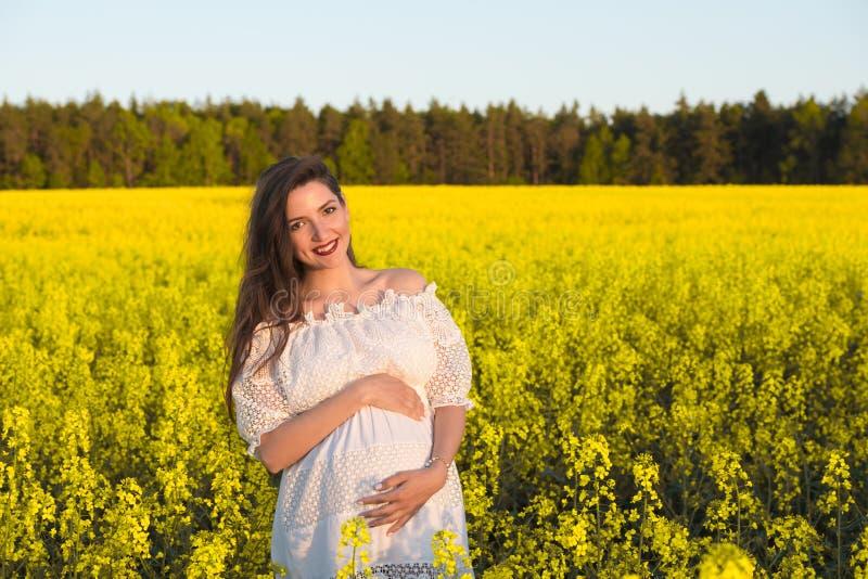Donna felice incinta che tocca la sua pancia Ritratto di mezza età incinto della madre che accarezza la suoi pancia e primo piano fotografia stock libera da diritti