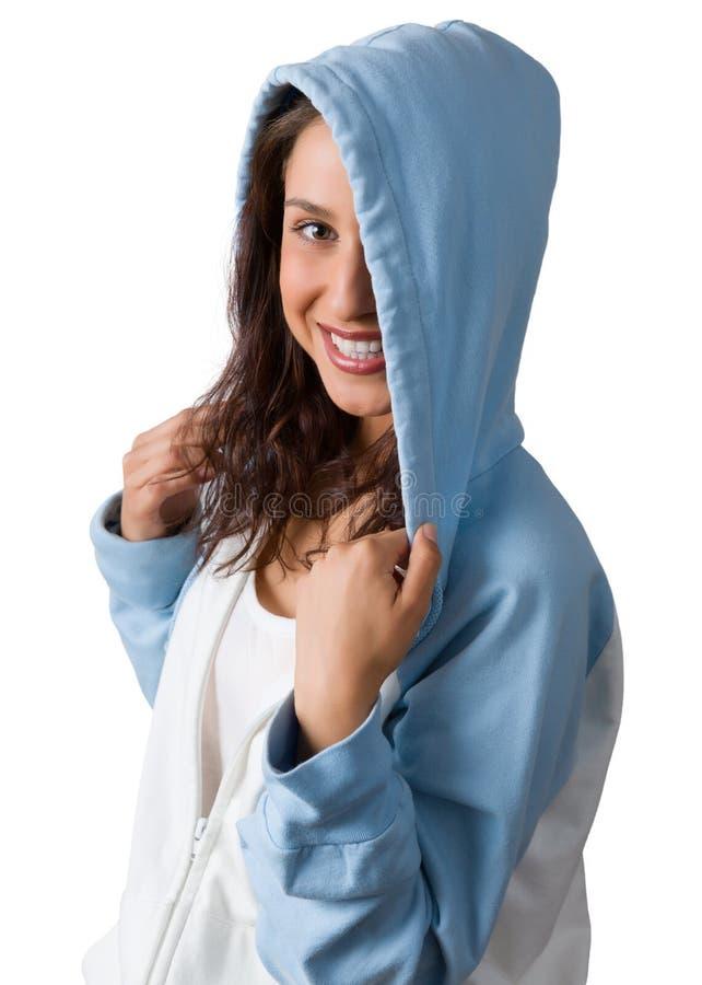Donna felice in maglione immagine stock libera da diritti