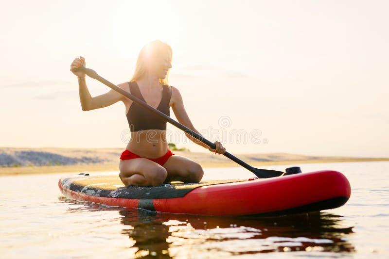 Donna felice sul bordo di pagaia al tramonto fotografia stock