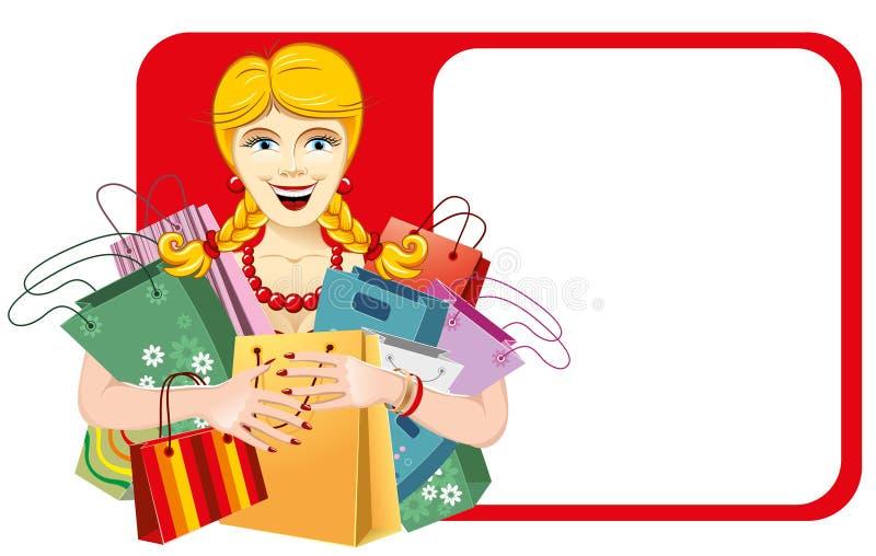 Donna felice sulla vendita fotografie stock libere da diritti
