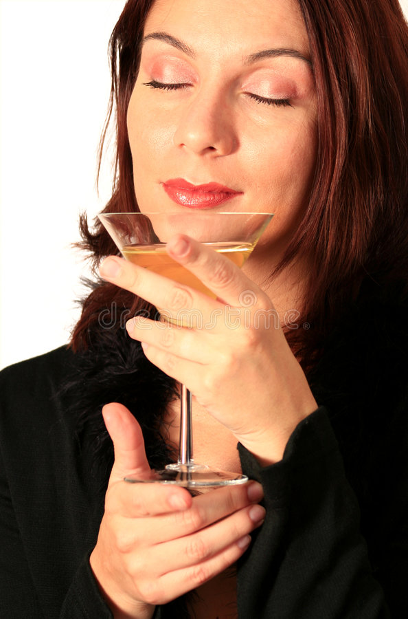Donna fine della bevanda fotografia stock libera da diritti