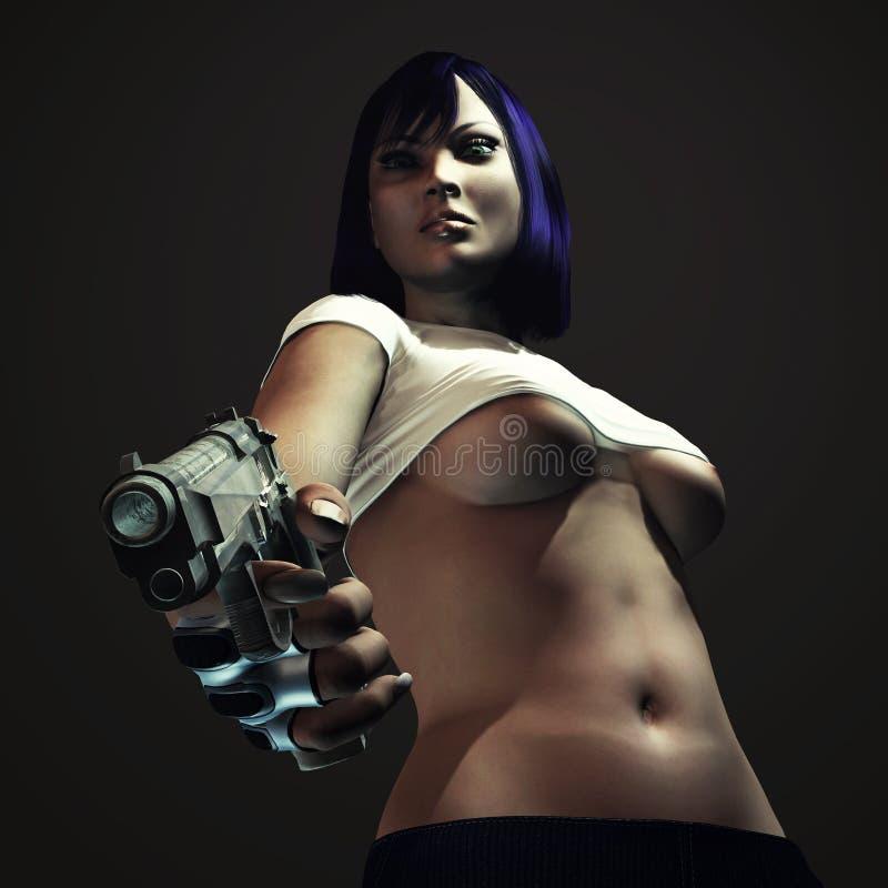 Donna forte e sexy con la pistola illustrazione di stock