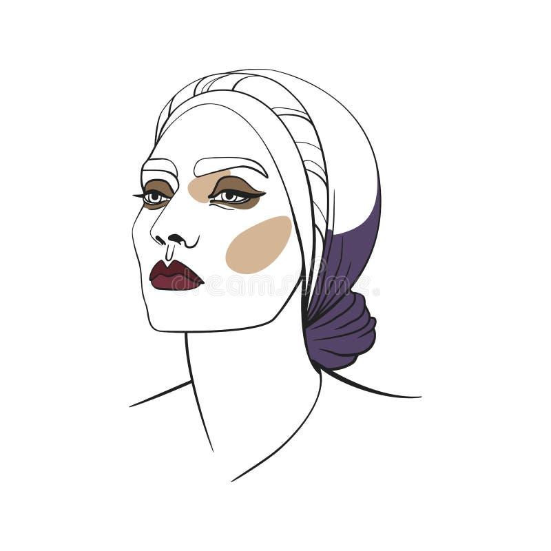 Donna in foulard con gli occhi fumosi Fronte astratto Illustrazione di modo Illustrazione di vettore fotografie stock libere da diritti