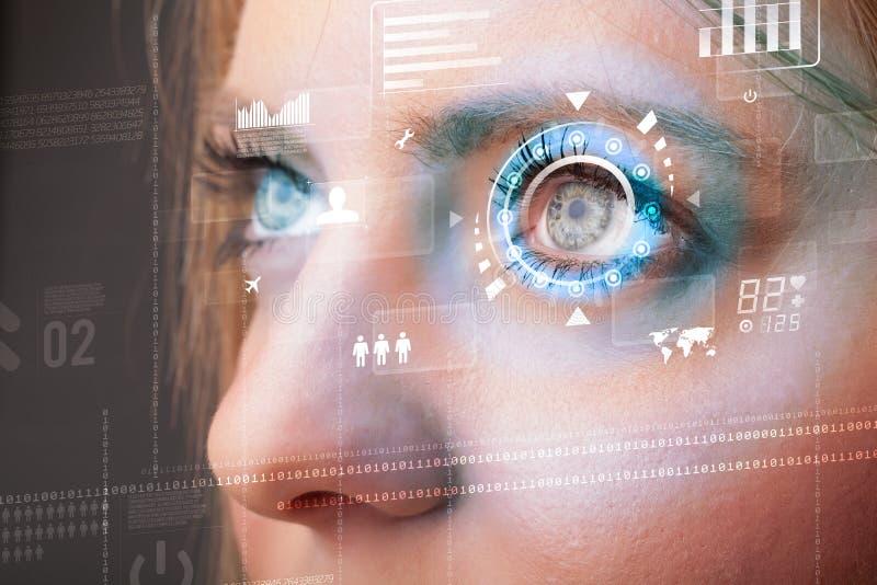 Donna futura con il pannello cyber dell'occhio di tecnologia fotografia stock libera da diritti