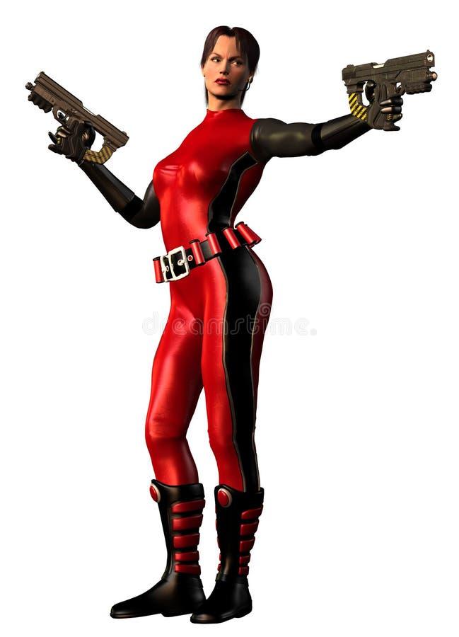 Donna futuristica del guerriero con due armi royalty illustrazione gratis