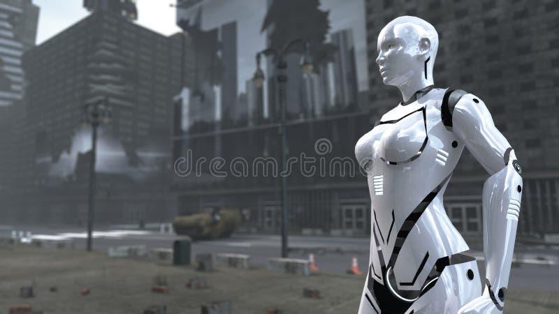 Donna futuristica del robot su Time Square apocalittico New York Manhattan rappresentazione 3d illustrazione di stock