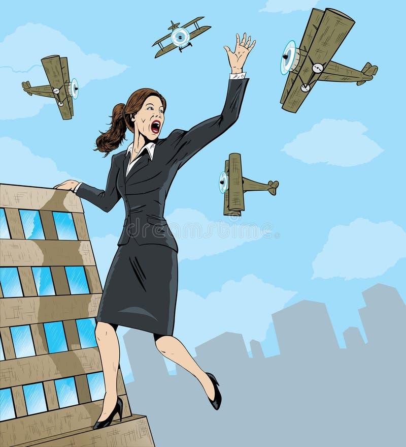 Donna gigante di affari. illustrazione di stock