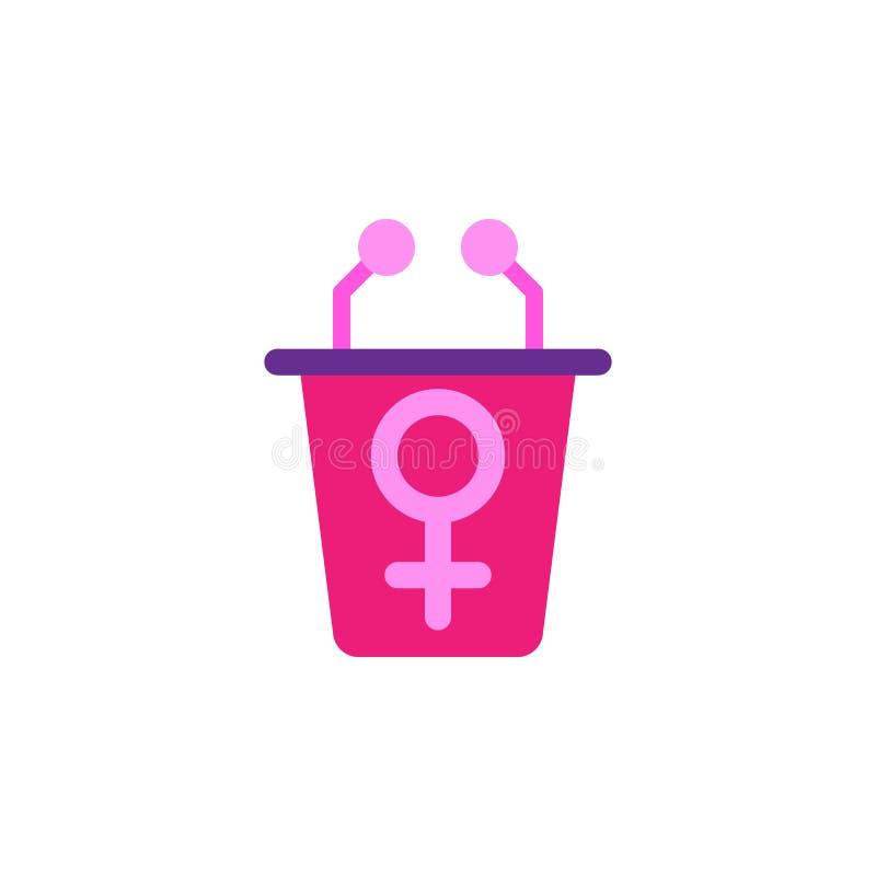 """Donna \ """"giorno di s, icona di conferenza Elemento della donna di colore \ """"dell'icona di giorno di s Icona premio di progettazio illustrazione di stock"""