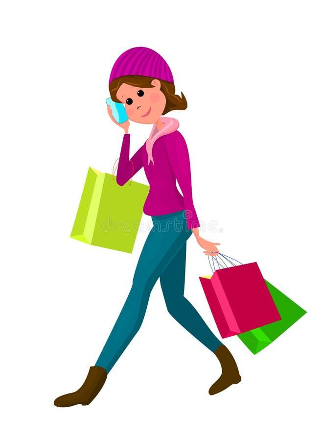 Donna giovane con i sacchetti di acquisto illustrazione di stock