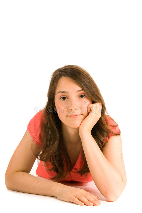 Donna giovane di pensiero immagini stock