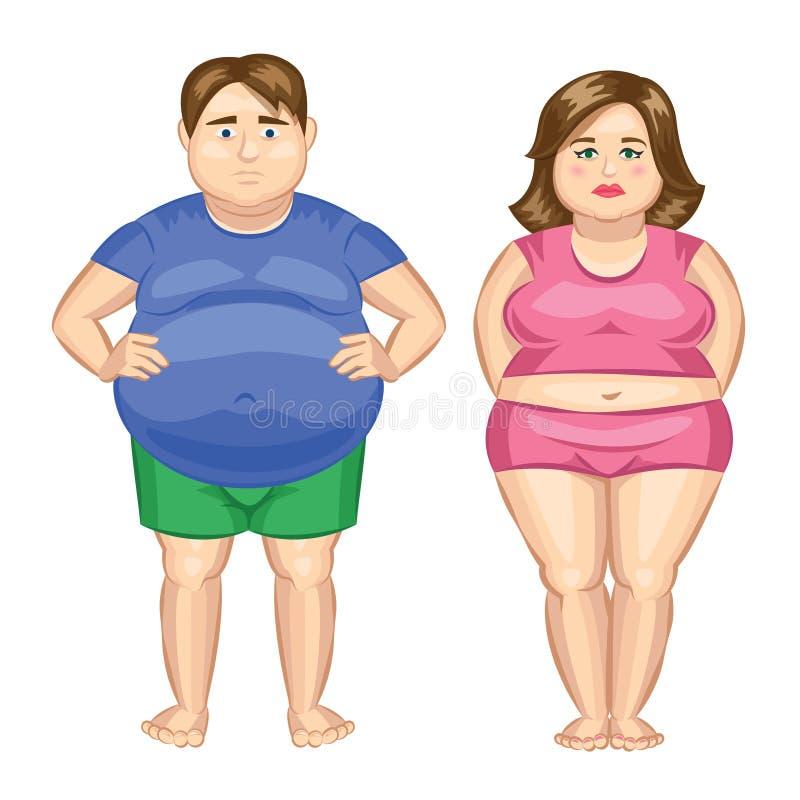 Donna grassa ed uomo grasso fotografia stock libera da diritti