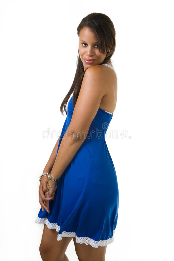 Donna graziosa in azzurro fotografie stock libere da diritti