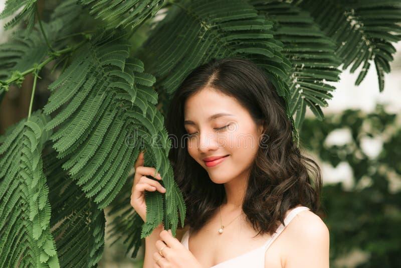 Donna graziosa che tiene un ramo di un albero vicino al fronte fotografia stock