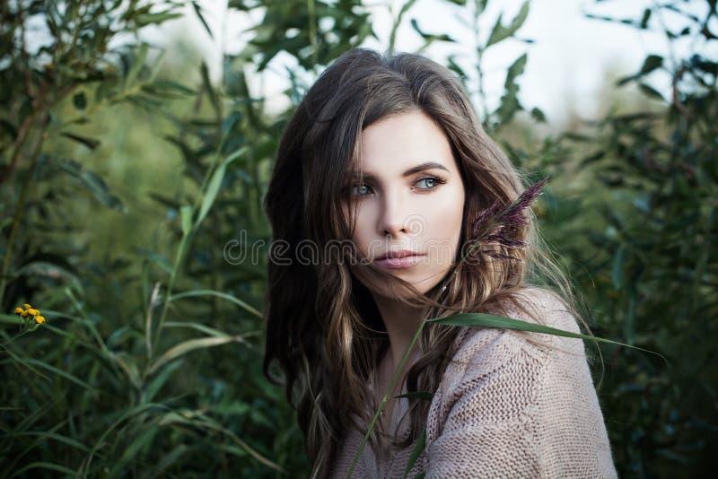 Donna graziosa con chiara pelle e capelli perfetti lunghi che si rilassano sul fondo organico dell'erba verde fotografia stock libera da diritti