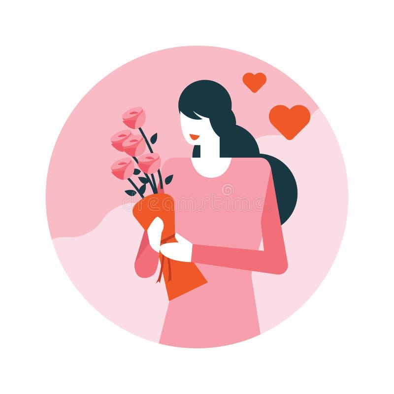 Donna graziosa con il bello mazzo dei fiori illustrazione vettoriale