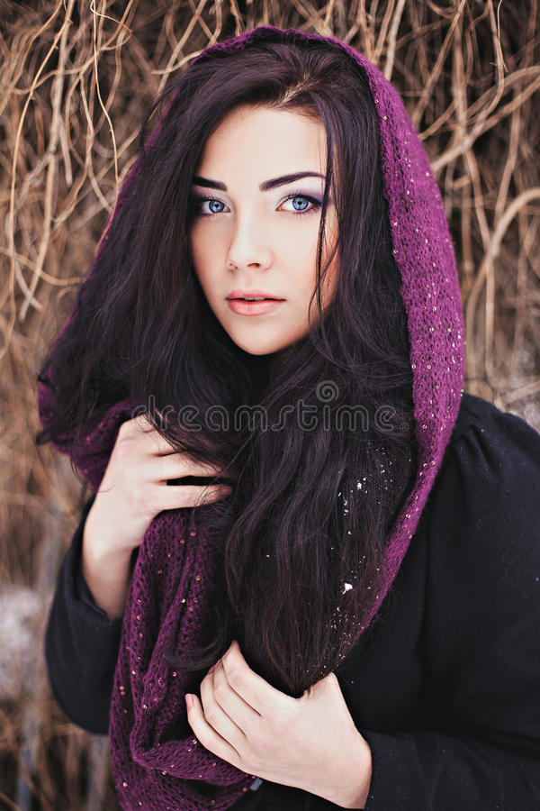 Donna graziosa con la sciarpa porpora all'autunno più tardo fotografie stock