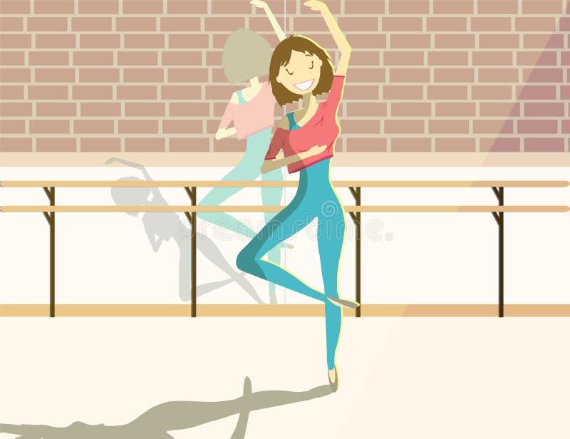 Donna graziosa felice nella classe di balletto Vettore illustrazione vettoriale