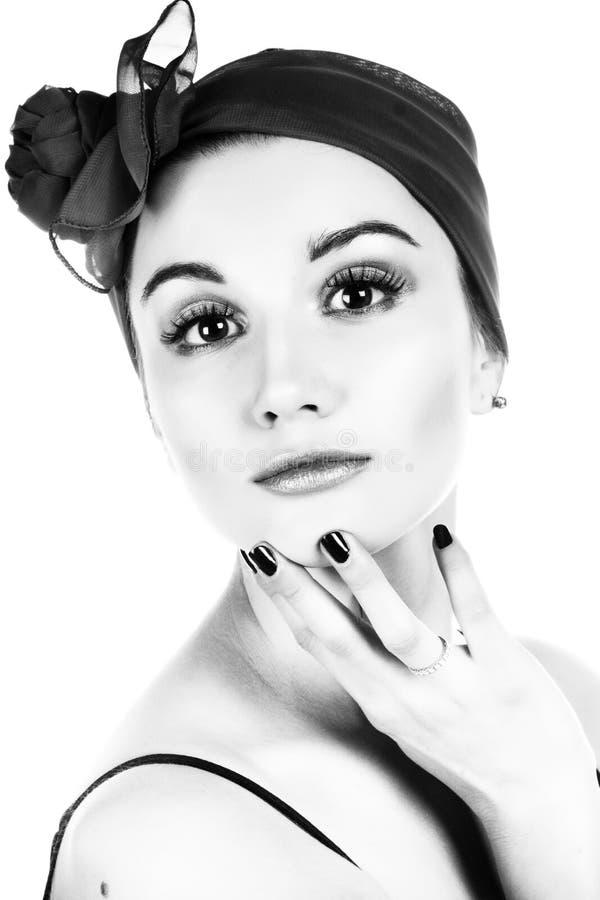 Donna graziosa. Fotographia di B&W. fotografie stock