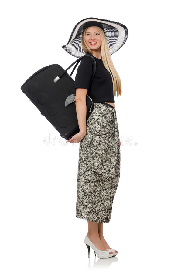 Donna graziosa in gonna lunga isolata sul bianco fotografie stock