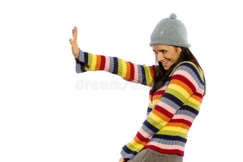 Donna graziosa in maglione immagine stock
