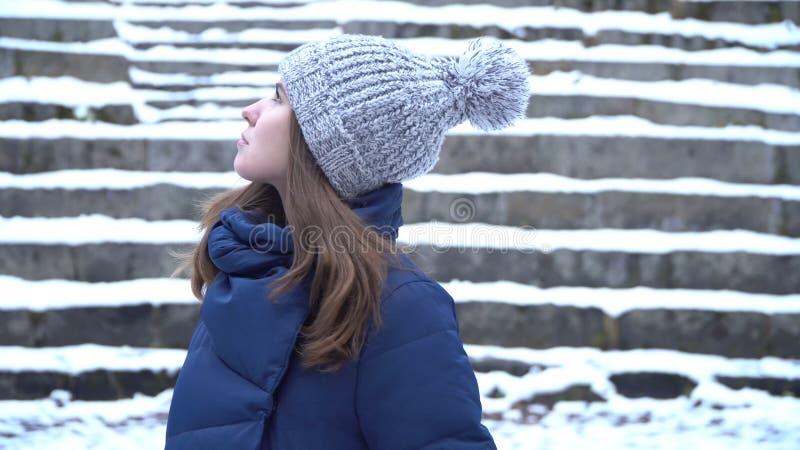 Donna graziosa nei sorrisi del cappello di inverno che stanno fuori sulla neve nella foresta con il fondo nevoso delle scale Ritr fotografia stock libera da diritti