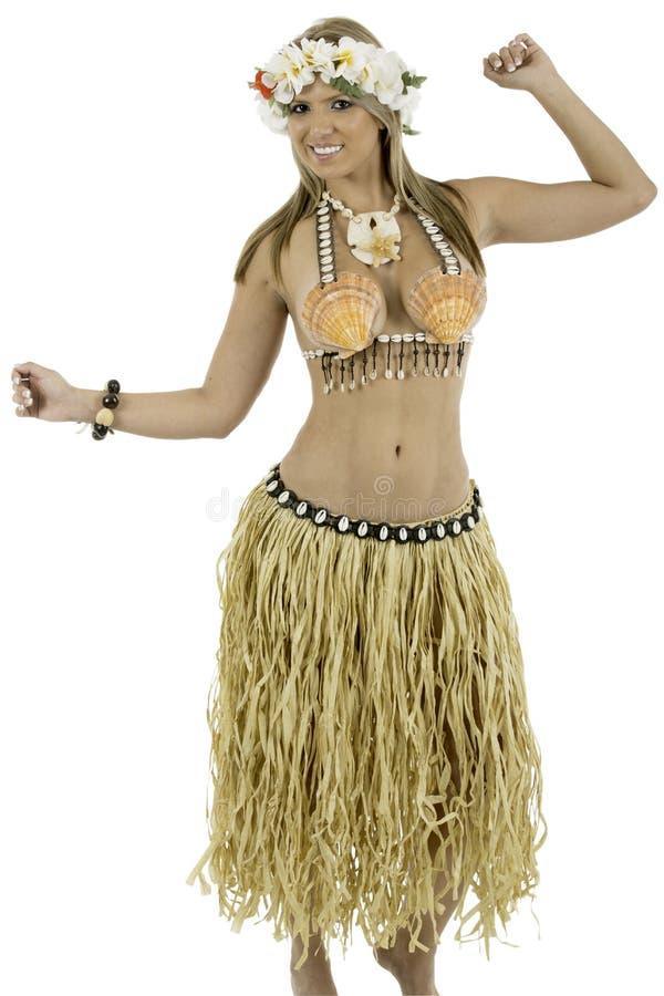 Donna graziosa vestita in costume hawaiano fotografia stock