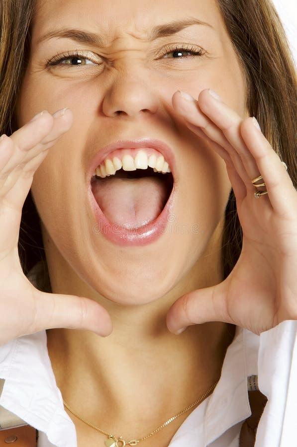 donna gridante pazzesca immagini stock