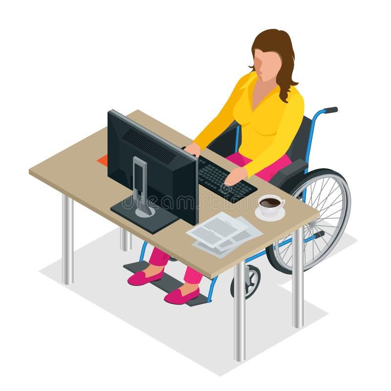 Donna handicappata in sedia a rotelle in un ufficio che lavora ad un computer Illustrazione isometrica piana di vettore 3d intern royalty illustrazione gratis