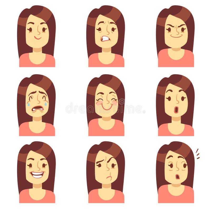 Donna, icone dell'avatar di vettore di espressione di emozioni del fronte della ragazza illustrazione vettoriale