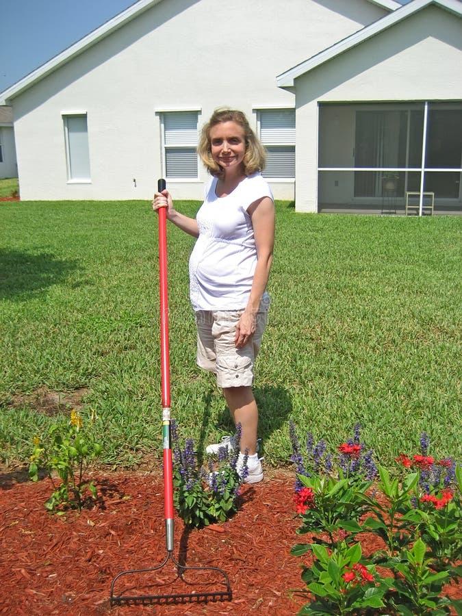 Donna incinta 4 di giardinaggio immagini stock