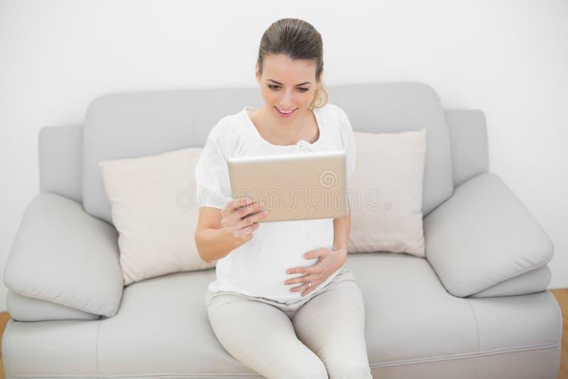 Donna incinta allegra che tiene la sua compressa fotografia stock libera da diritti