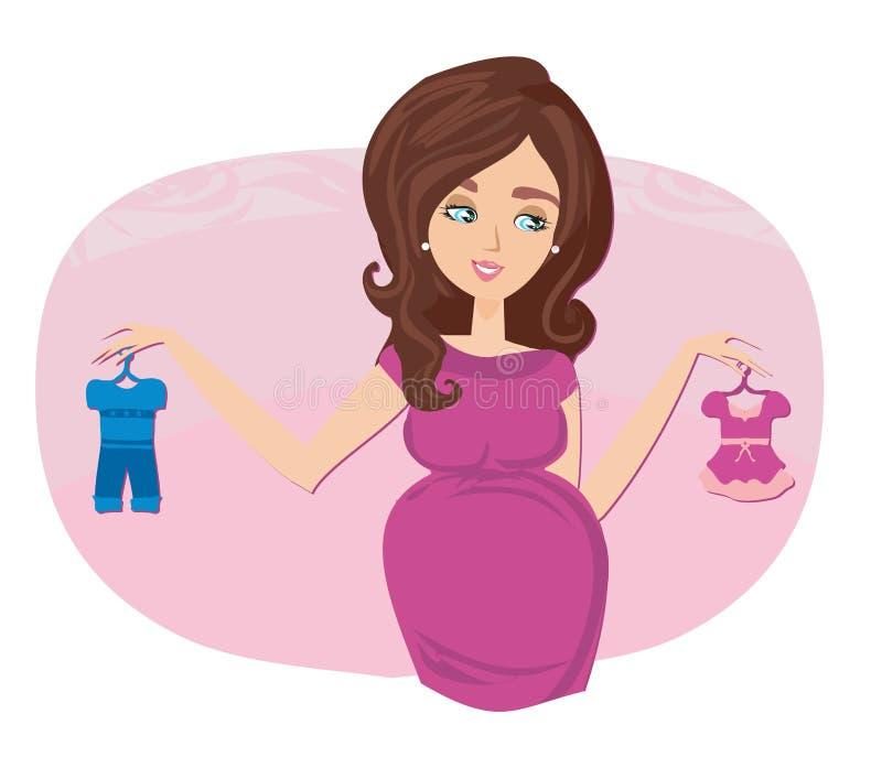 Donna incinta bella sull'acquisto per il suo bambino nuovo illustrazione vettoriale
