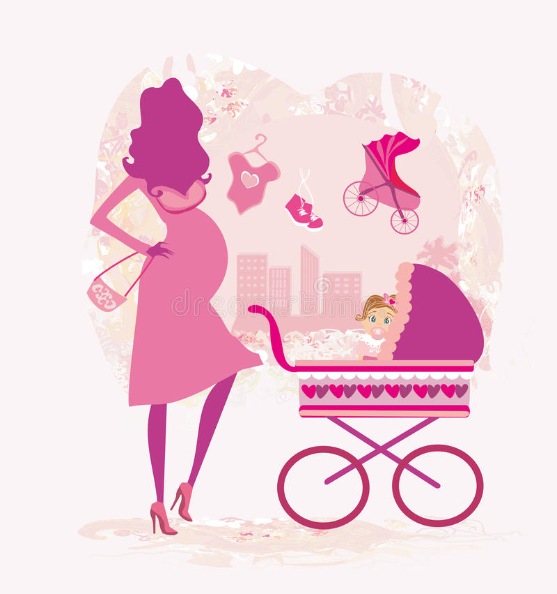 Donna incinta che spinge un passeggiatore royalty illustrazione gratis