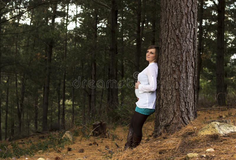 Donna incinta che sta all'aperto immagini stock