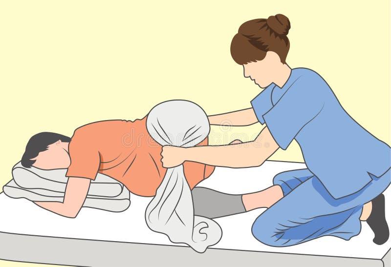 Donna incinta con il bambino & la madre sostenenti dell'infermiere con l'asciugamano illustrazione vettoriale