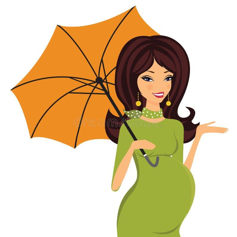 Donna incinta con l'ombrello illustrazione vettoriale