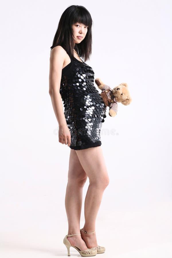 Donna incinta di modo dell'Asia immagini stock libere da diritti