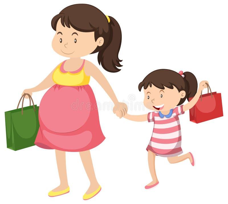 Donna incinta e bambina illustrazione di stock