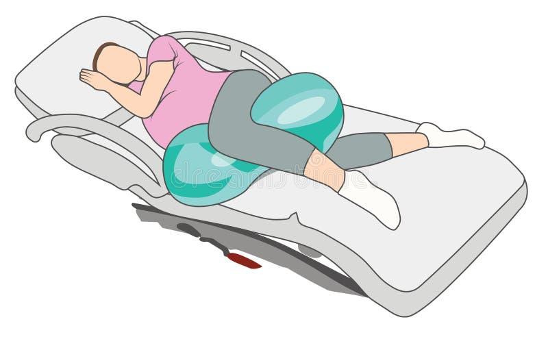 Donna incinta nella posizione di lavoro di gravidanza con la palla dell'arachide illustrazione vettoriale