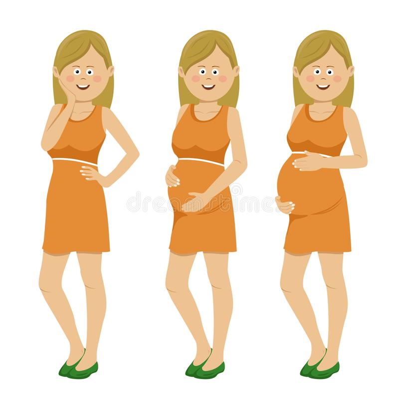 Donna incinta nelle fasi differenti della gravidanza isolate su fondo bianco illustrazione di stock